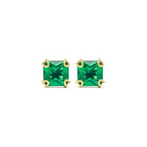 Handmade Yellow Gold 9kt Earrings with Green Zirconia