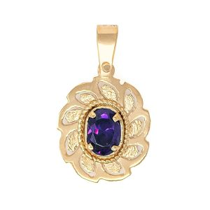 Handmade Yellow Gold 9kt Pendant with Synthetic Amethyst