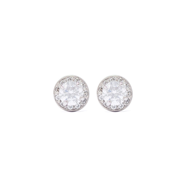 9kt White Gold Earrings with Cubic Zirconia