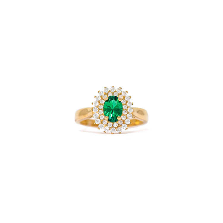 Yellow Gold 9kt Ring with Green and White Zirconia.