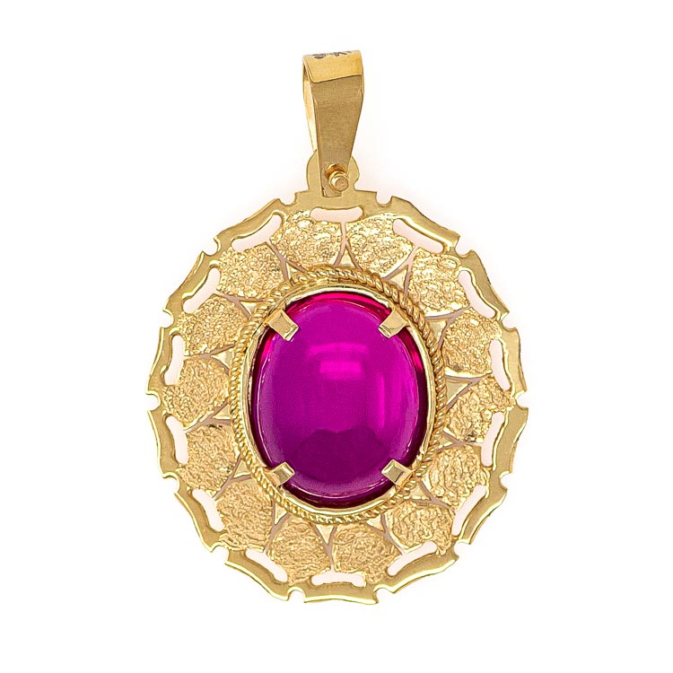 Handmade Yellow Gold 9kt Pendant with Synthetic Ruby