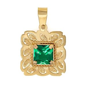 Handmade Yellow Gold 9kt Pendant with Synthetic Emerald