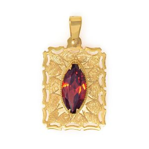 Handmade Yellow Gold 9kt Pendant with Synthetic Garnet
