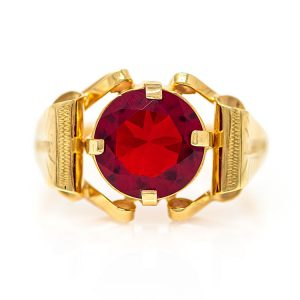 Handmade Yellow Gold 9kt Ring with Synthetic Ruby