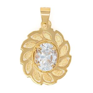 Handmade Pendant in Yellow Gold 9kt with Cubic Zirconia.