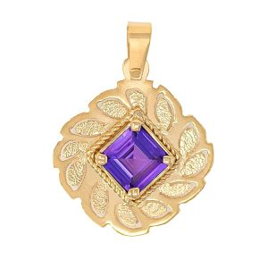 Handmade Pendant in Yellow Gold 9kt with Synthetic Amethyst.
