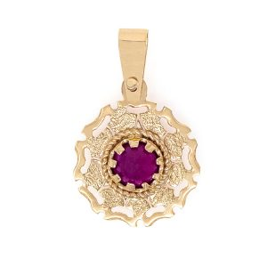 Handmade Pendant in Yellow Gold 9kt with Synthetic Ruby