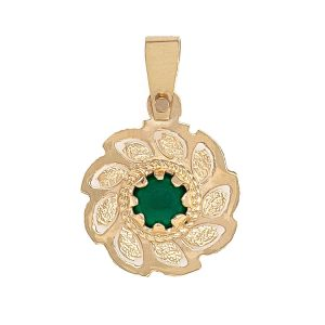 Handmade Pendant in Yellow Gold 9kt with Synthetic Emerald