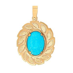 Handmade Pendant in Yellow Gold 9kt with Turquoise