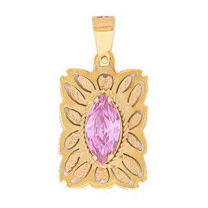 Handmade Yellow Gold 9kt Pendant with Pink Zirconia