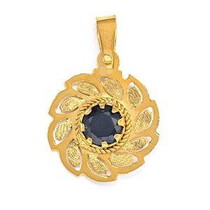 Handmade Yellow Gold 9kt Pendant with Black Zirconia