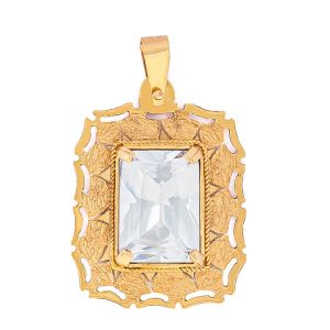 Handmade Pendant in Yellow Gold 9kt with Cubic Zirconia
