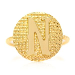 Ring in Yellow Gold 9kt with Letter N
