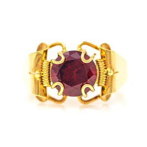 Handmade Yellow Gold 9kt Ring with Synthetic Garnet