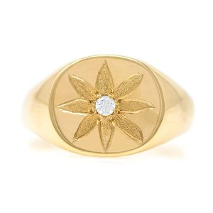Handmade Ring in Yellow Gold 9kt with Cubic Zirconia