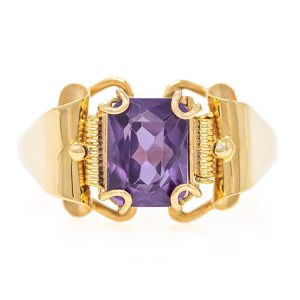 Handmade Yellow Gold 9kt Ring with Synthetic Amethyst