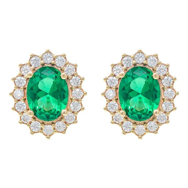 Yellow Gold 9kt Earrings with Synthetic Emerald and Cubic Zirconia