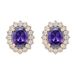 Yellow Gold 9kt Earrings with Synthetic Amethyst and Cubic Zirconia