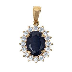 Pendant in Yellow Gold 9kt with Black and White Zirconia