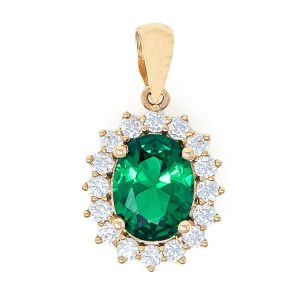 Pendant in Yellow Gold 9kt with Synthetic Emerald and White Zirconia