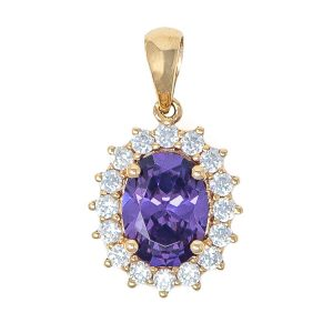 Pendant in Yellow Gold 9kt with Synthetic Amethyst and White Zirconia