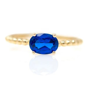 Yellow Gold 9kt Ring with Synthetic Sapphire.