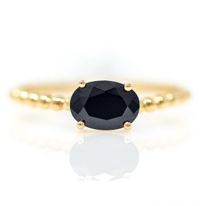 Yellow Gold 9kt Ring with Black Zirconia