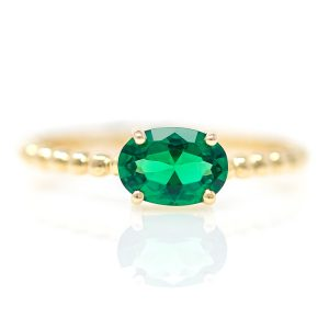 Yellow Gold 9kt Ring with Synthetic Emerald