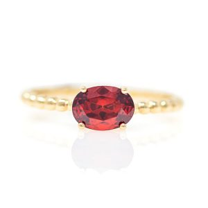 Yellow Gold 9kt Ring with Synthetic Garnet