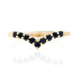 Ring in Yellow Gold 9kt with Black Zirconia