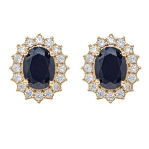 Yellow Gold 9kt Earrings with Black and White Cubic Zirconia