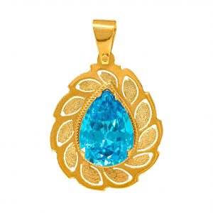 Handmade Pendant in Yellow Gold 9kt with Synthetic Topaz