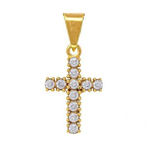 Cross in 9kt Yellow Gold with White Cubic Zirconia