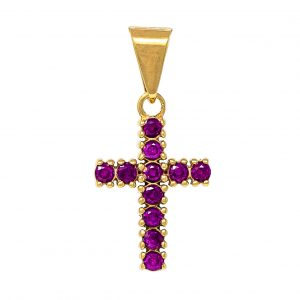 Cross in 9kt Yellow Gold with Synthetic Ruby