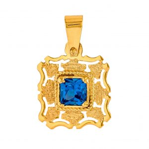 Handmade Pendant in Yellow Gold 9kt withSynthetic Topaz