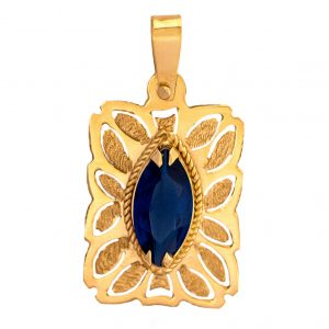 Handmade Yellow Gold 9kt Pendant with Synthetic Blue Sapphire