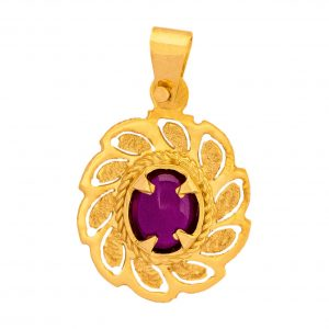 Handmade Yellow Gold 9kt Pendant with Synthetic Ruby.