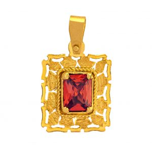 Handmade Pendant in Yellow Gold 9kt with Synthetic Garnet