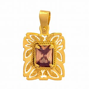 Handmade Yellow Gold 9kt Pendant with Synthetic Citrine