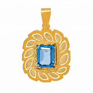 Handmade Pendant in Yellow Gold 9kt with Synthetic Topaz.