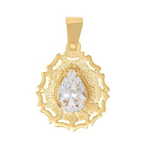 Handmade Pendant in Yellow Gold 9kt withCubic Zirconia