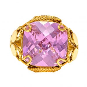 Handmade Yellow Gold 9kt Ring with Synthetic Pink Sapphire