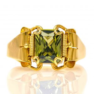 Handmade Yellow Gold 9kt Ring with Synthetic Peridot