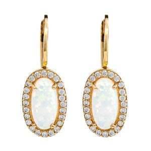 Earrings in Yellow Gold 9kt with Synthetic Opal and Cubic Zirconia.