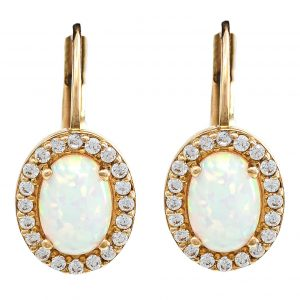 Earrings in Yellow Gold 9kt with Synthetic Opal and Cubic Zirconia