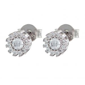 White Gold 9kt Earrings with Cubic Zirconia