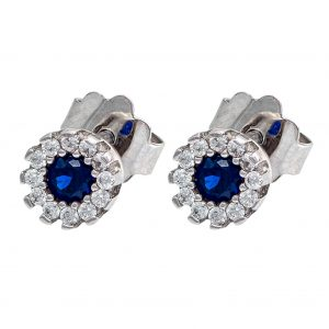 Earrings in White Gold 9kt with Synthetic Blue Sapphire and Cubic Zirconia