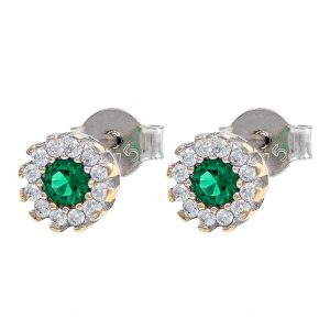 Earrings in White Gold 9kt with Synthetic Emerald and Cubic Zirconia