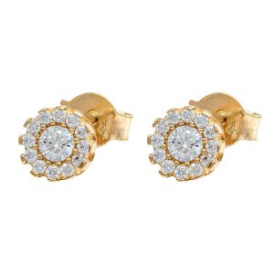 Earrings in Yellow Gold 9kt with White Cubic Zirconia