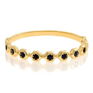 Yellow Gold 9kt Ring with Black Cubic Zirconia